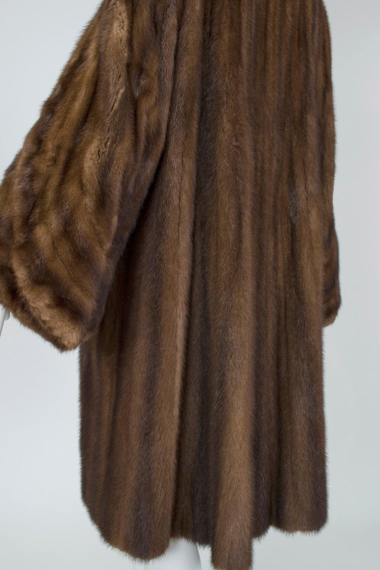 Mink Hollywood Regency Swing Coat with Art Deco Cuffs, 1940s For Sale 3