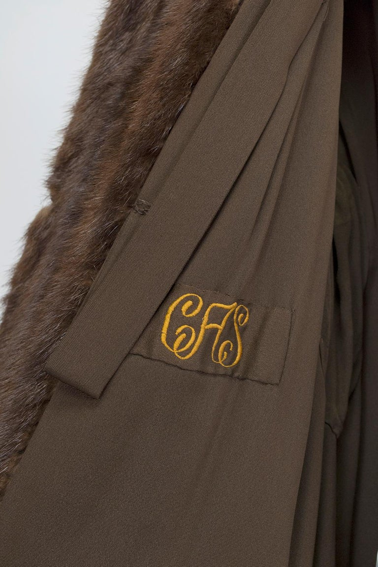 Supple Cognac Mink Hollywood Regency Swing Coat with Art Deco Cuffs - S-M, 1940s 5
