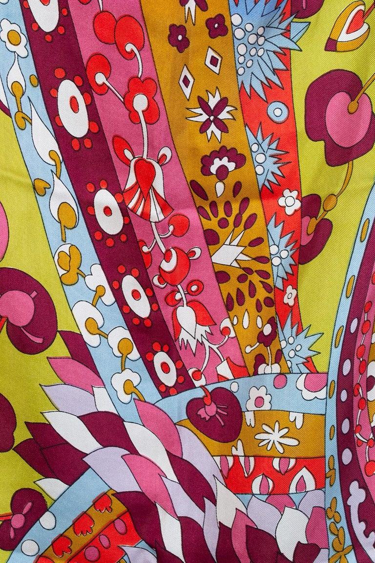 Schiaparelli Pop Art Psychedelic Silk Foulard Scarf, 1960s For Sale 1