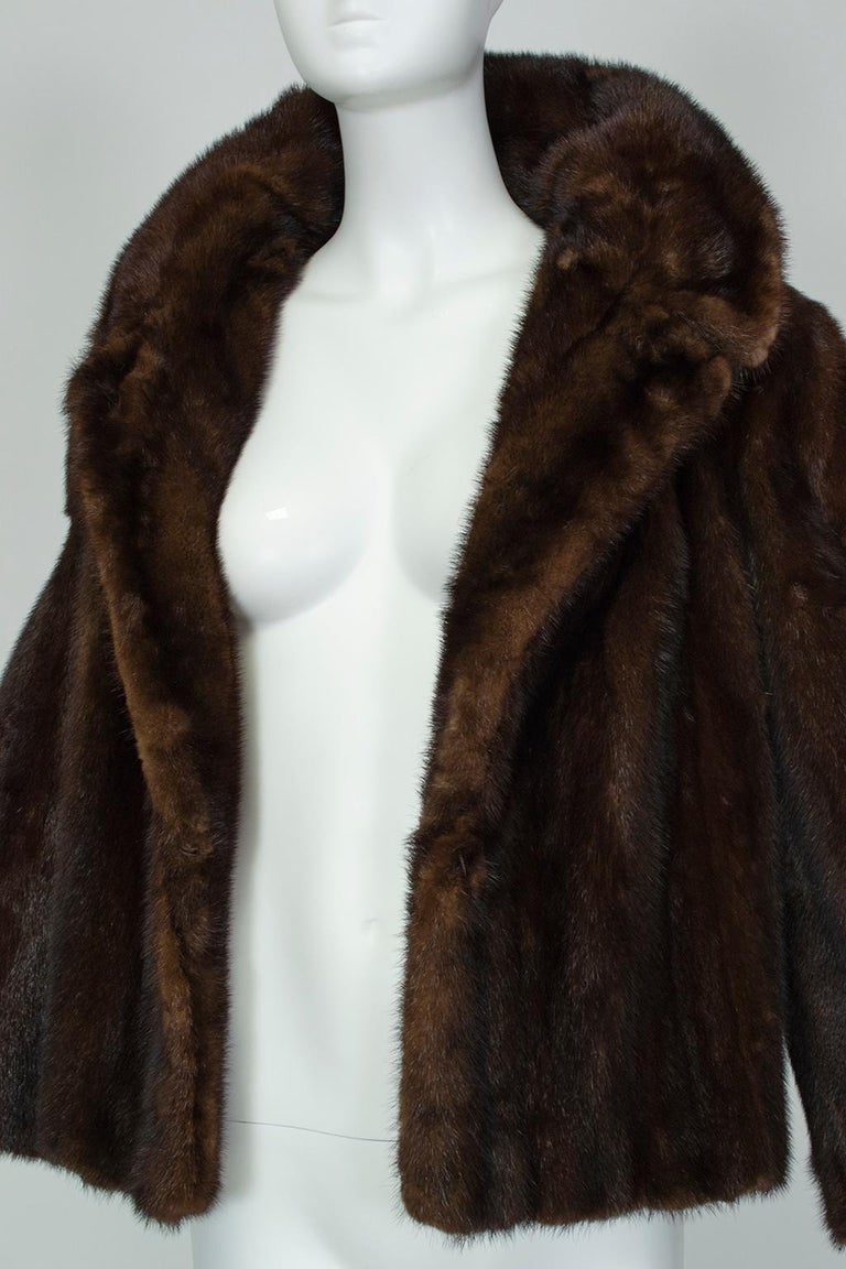 Women's Mahogany Mink Chubby Fur Jacket with Oversize Collar, 1956 For Sale