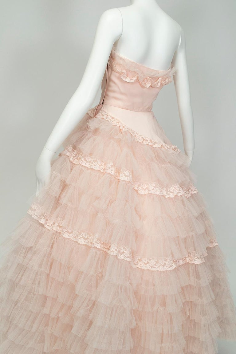 Will Steinman Pink Strapless Asymmetrical Lace Wedding Ball Gown - Small, 1950s For Sale 2