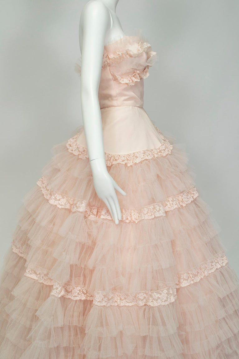 Will Steinman Pink Strapless Asymmetrical Lace Wedding Ball Gown - Small, 1950s For Sale 1