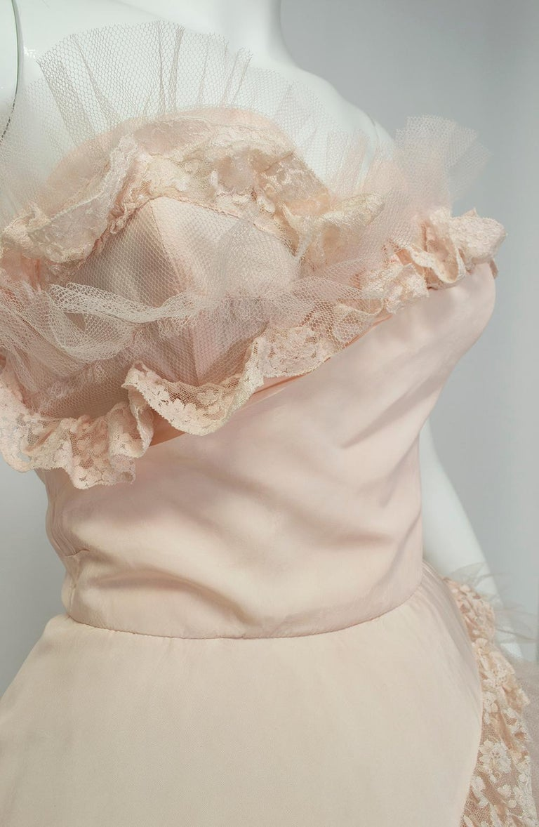 Will Steinman Pink Strapless Asymmetrical Lace Wedding Ball Gown - Small, 1950s For Sale 5