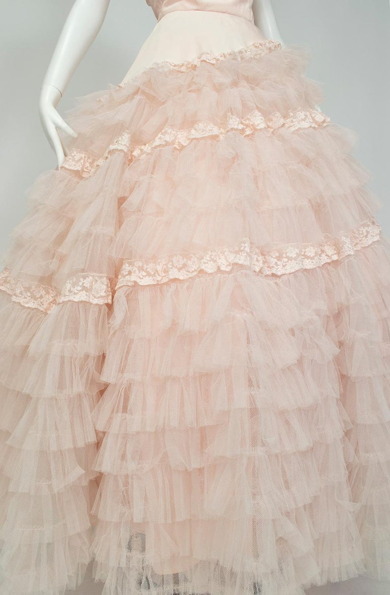 Will Steinman Pink Strapless Asymmetrical Lace Wedding Ball Gown - Small, 1950s For Sale 7