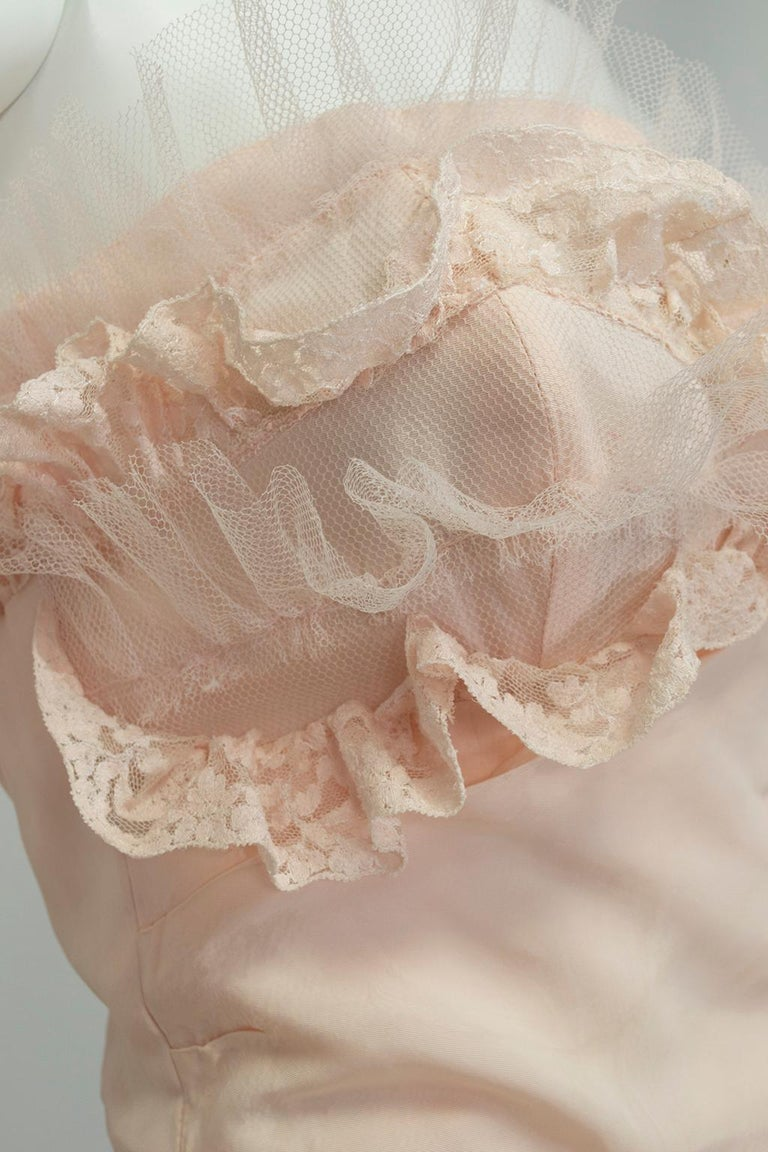 Will Steinman Pink Strapless Asymmetrical Lace Wedding Ball Gown - Small, 1950s For Sale 6