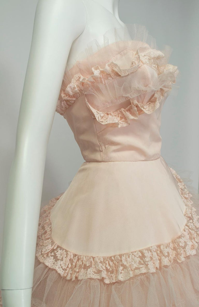 Will Steinman Pink Strapless Asymmetrical Lace Wedding Ball Gown - Small, 1950s For Sale 4