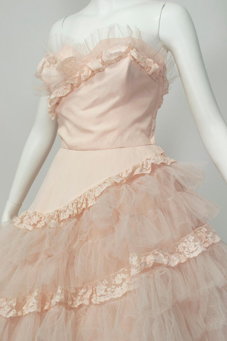 Will Steinman Pink Strapless Asymmetrical Lace Wedding Ball Gown - Small, 1950s For Sale 3