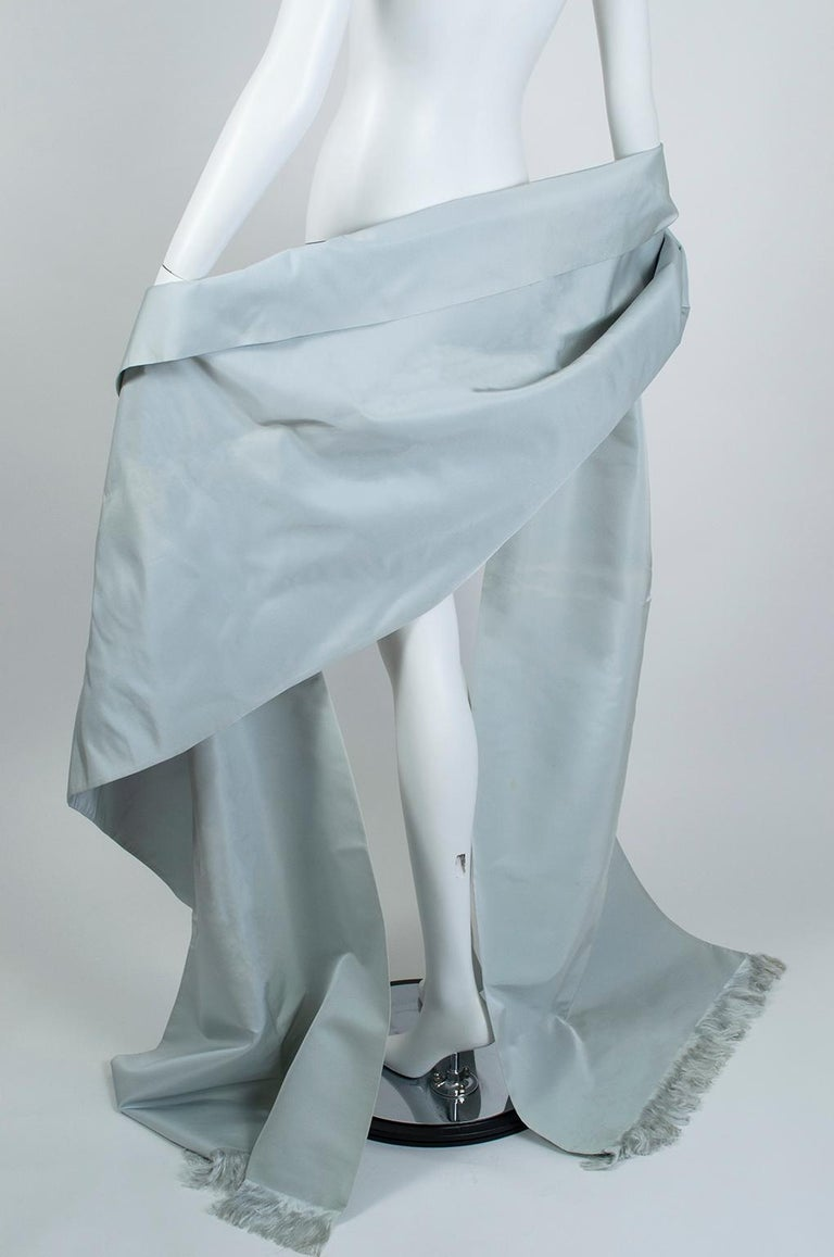 Gustave Tassell Robin's Egg Blue Silk Fringed Wrap Shawl - One Size, 1960s For Sale 3