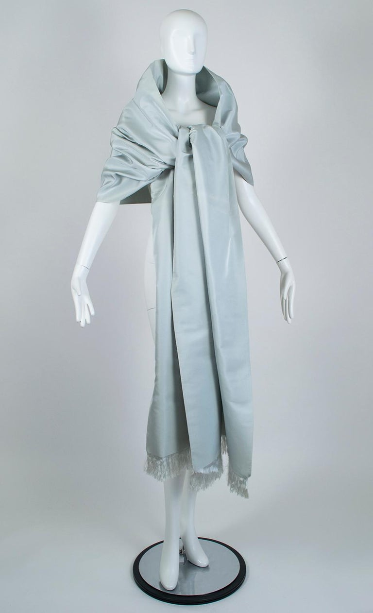 Gustave Tassell Robin's Egg Blue Silk Fringed Wrap Shawl - One Size, 1960s In Good Condition For Sale In Phoenix, AZ