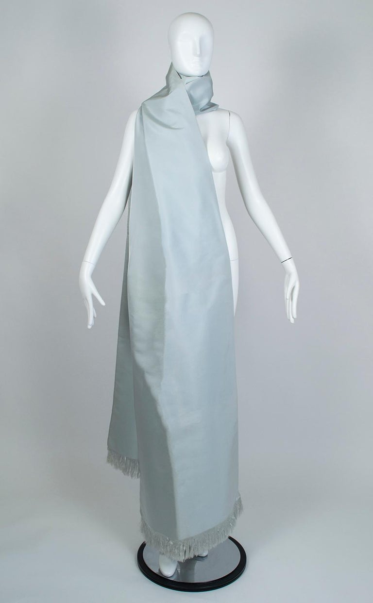 Gray Gustave Tassell Robin's Egg Blue Silk Fringed Wrap Shawl - One Size, 1960s For Sale