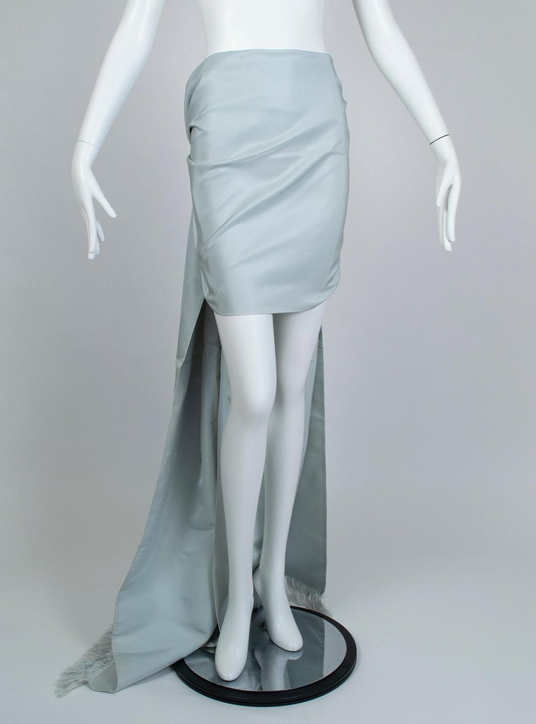 Women's Gustave Tassell Robin's Egg Blue Silk Fringed Wrap Shawl - One Size, 1960s For Sale
