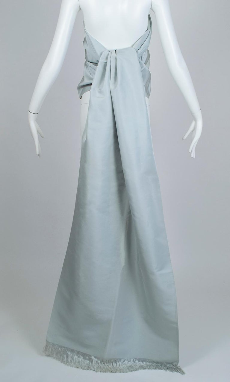 Gustave Tassell Robin's Egg Blue Silk Fringed Wrap Shawl - One Size, 1960s For Sale 1