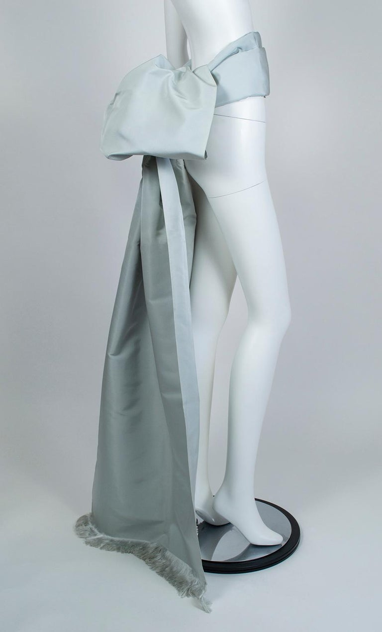 Gustave Tassell Robin's Egg Blue Silk Fringed Wrap Shawl - One Size, 1960s For Sale 2