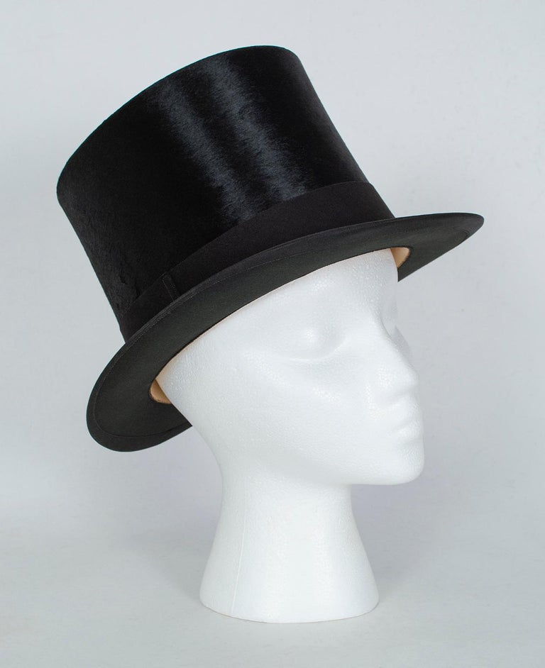 Having belonged to a prominent Victorian-era surgeon whose family estate was in Mexico, this hat has traveled the world and has the transport stickers from Chile and Japan to prove it. Made of superior-quality beaver fur (the kind that required