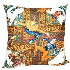 "Hermes Large ""Cheval Surprise"" Silk Pillow iwj4540-1"