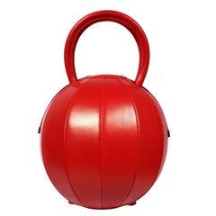 NitaSuri Pilo Red Leather Sphere Handbag