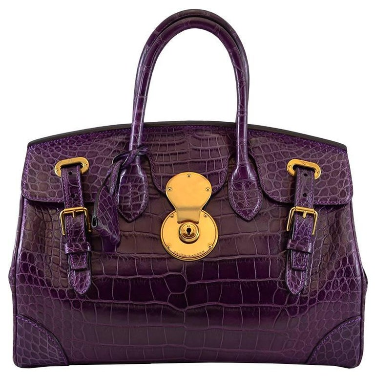 1655f4957e6a RALPH LAUREN Matte Deep Purple Alligator Ricky Bag For Sale at 1stdibs