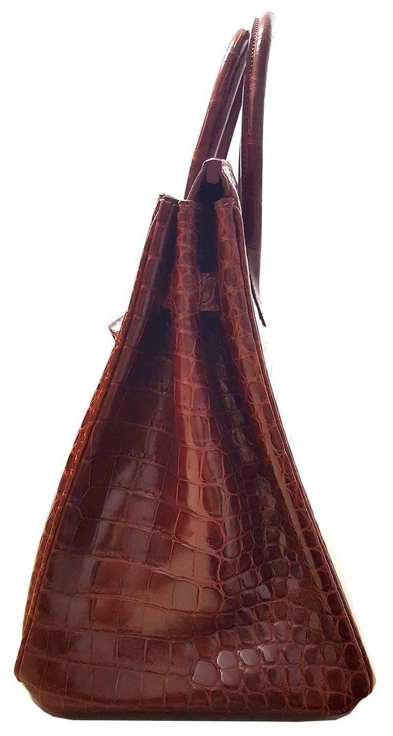 HERMES 35cm Porosos Crocodile Birkin Bag Bourgogne In Excellent Condition For Sale In New York, NY
