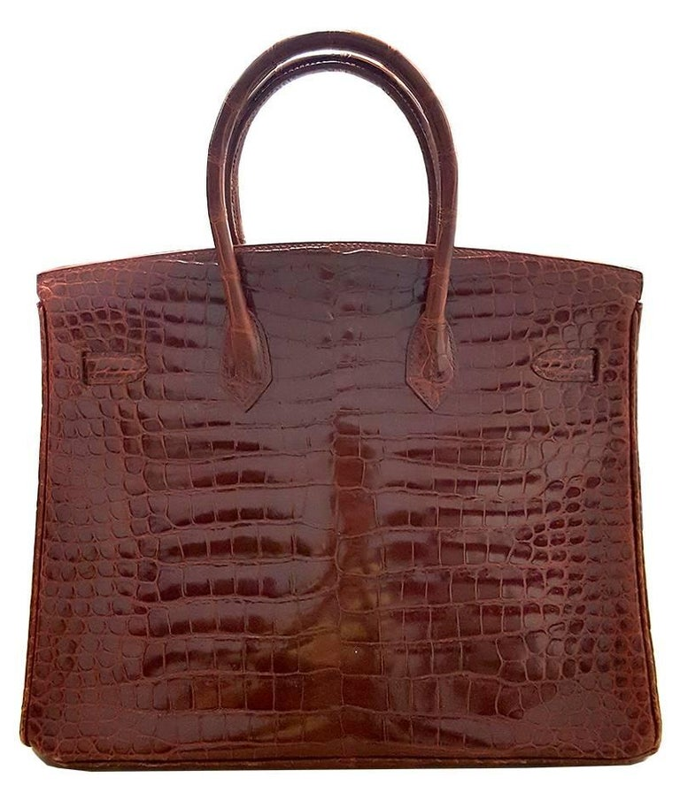 Brown HERMES 35cm Porosos Crocodile Birkin Bag Bourgogne For Sale