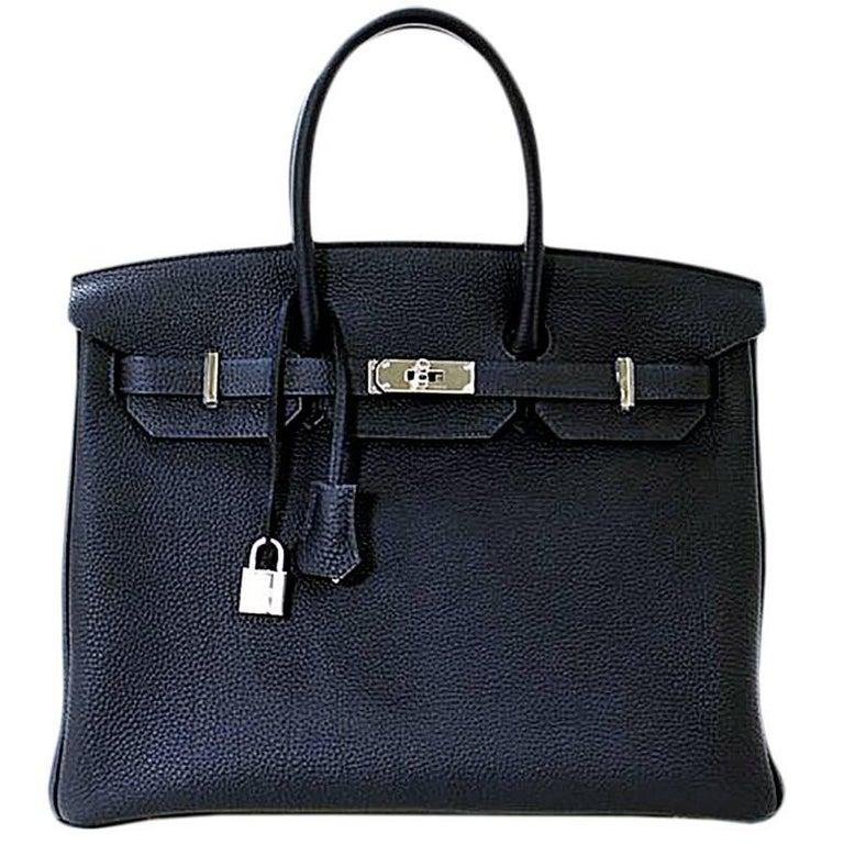 HERMES 35cm Navy Blue Birkin Bag
