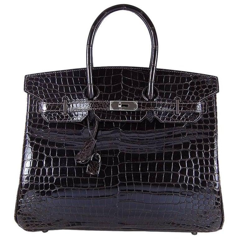 Hermes 35cm Cacao Porosus Birkin Bag