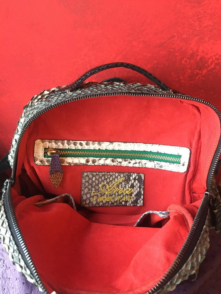 Black Ana Switzerland Python Backpack  For Sale