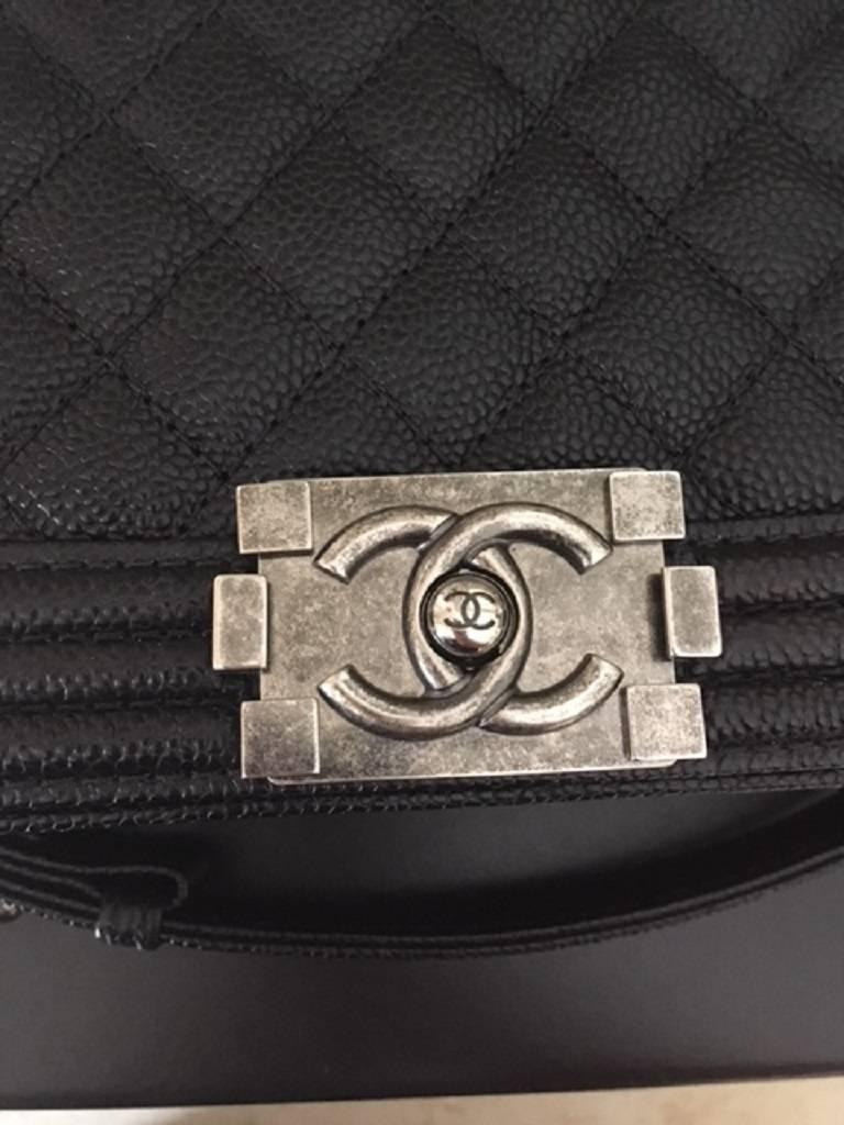Chanel Medium Boy Bag in Caviar leather  In New Never_worn Condition For Sale In Melbourne, AU