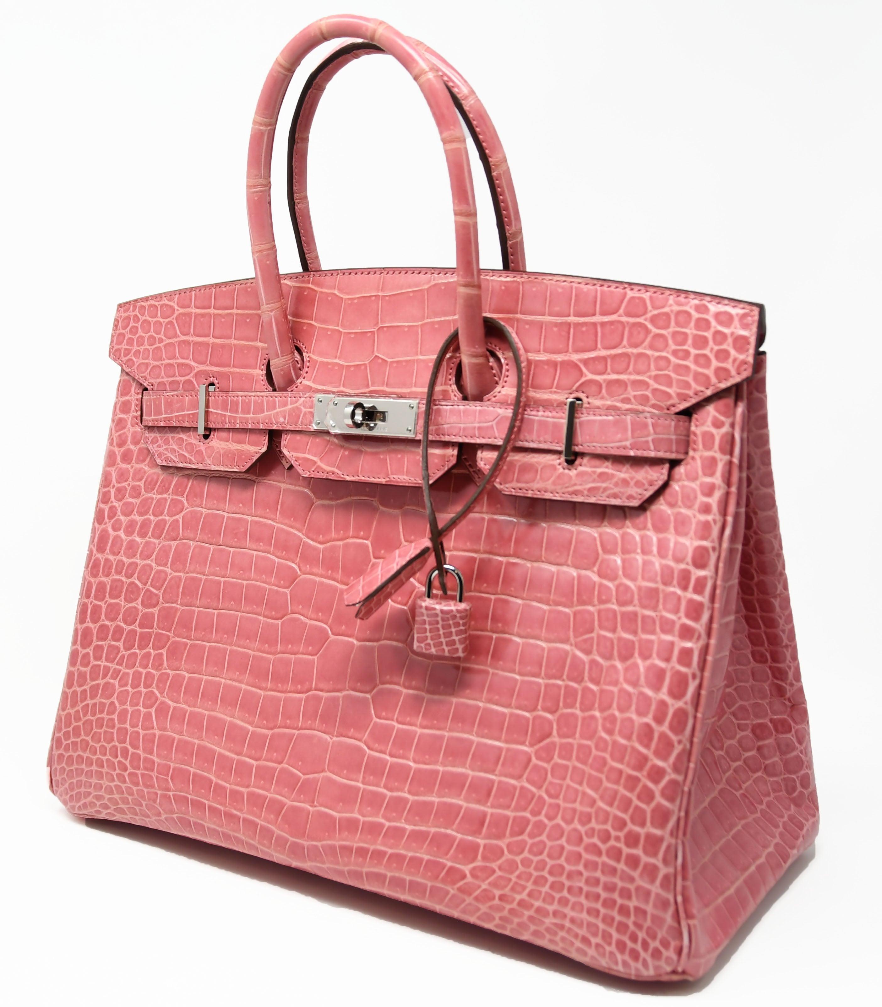 bd7a3cde66e Hermes Birkin Bag 35cm Rose Indienne Alligator with Palladium Hardware For  Sale at 1stdibs