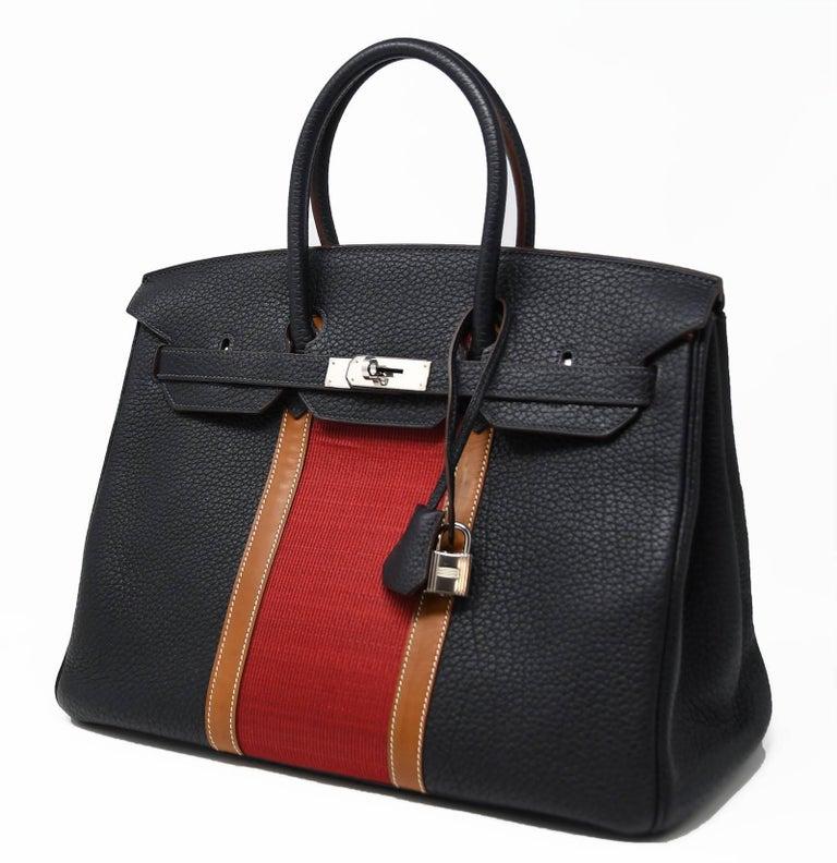 Hermes Birkin Bag 35cm Black with Red Stripe and Palladium Hardware For Sale at 1stdibs