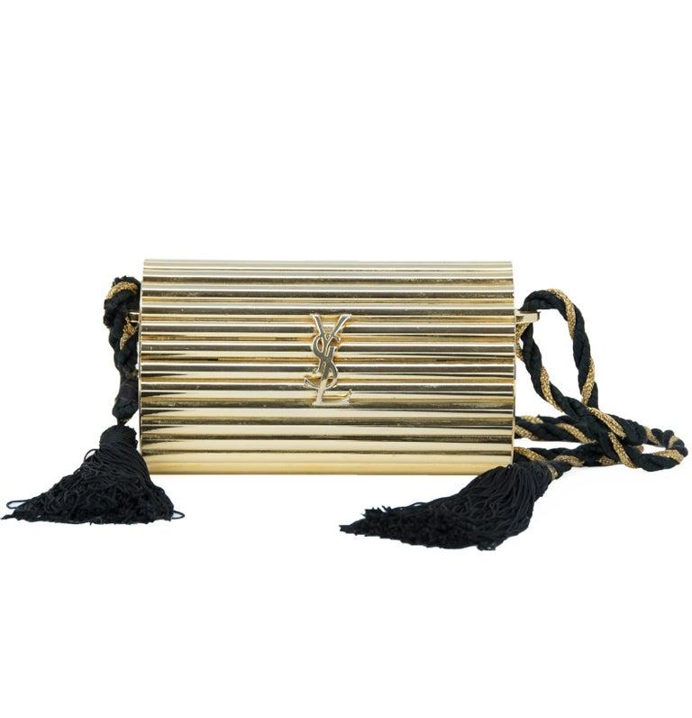 Yves Saint Laurent  Gold Minaudière Tassel Evening Bag For Sale