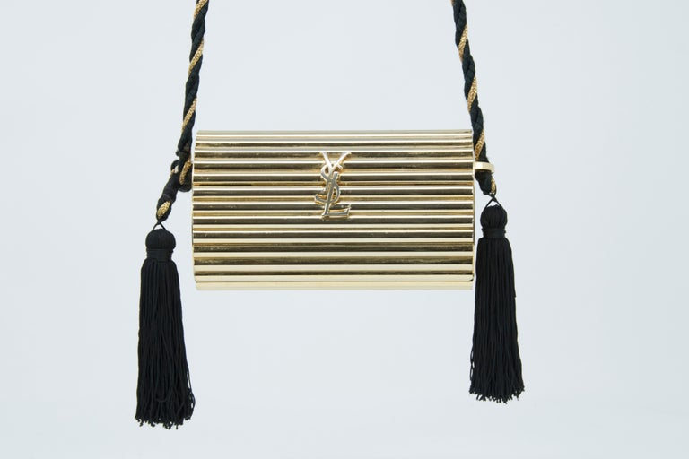 Yves Saint Laurent  Gold Minaudière Tassel Evening Bag In Excellent Condition For Sale In Newport, RI