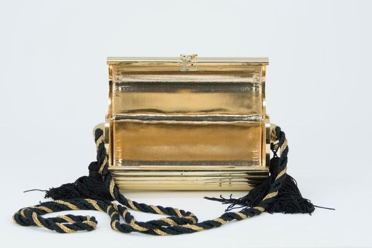 Women's Yves Saint Laurent  Gold Minaudière Tassel Evening Bag For Sale