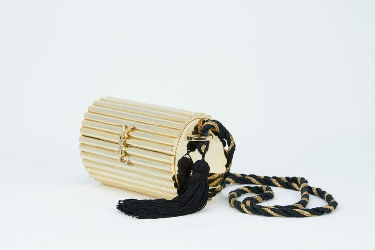 Yves Saint Laurent  Gold Minaudière Tassel Evening Bag For Sale 1