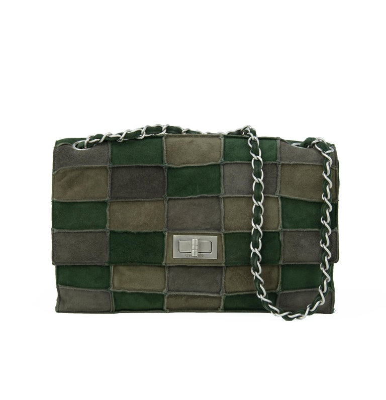 Chanel Green Patched Suede Double Flap Bag For Sale