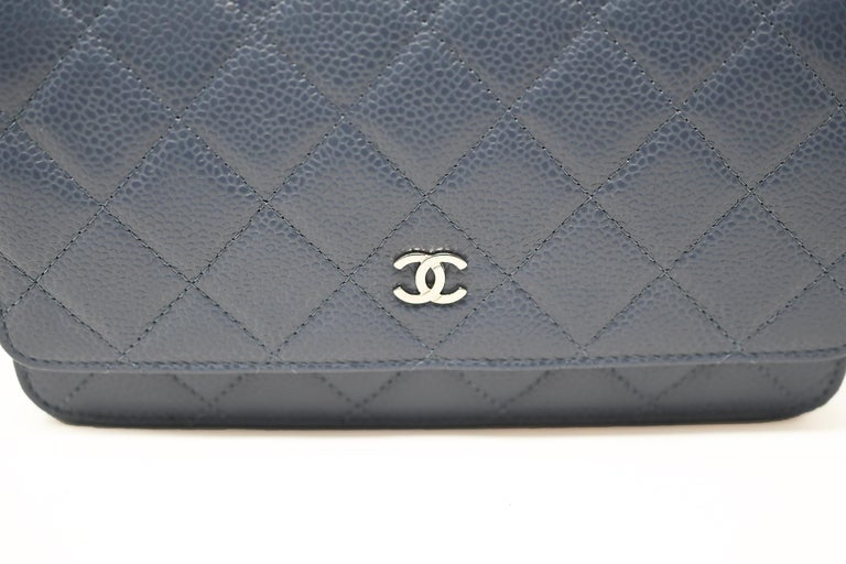 Gray Chanel Caviar Quilted Wallet On Chain Blue For Sale