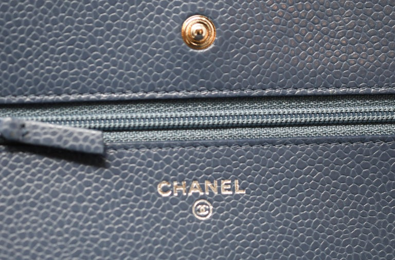 Women's Chanel Caviar Quilted Wallet On Chain Blue For Sale