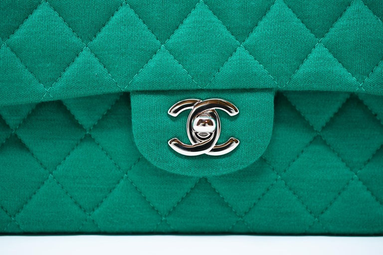 Chanel Emerald Green Jersey Knit Classic Double Flap Bag In New Condition For Sale In Newport, RI