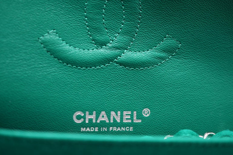 Women's Chanel Emerald Green Jersey Knit Classic Double Flap Bag For Sale
