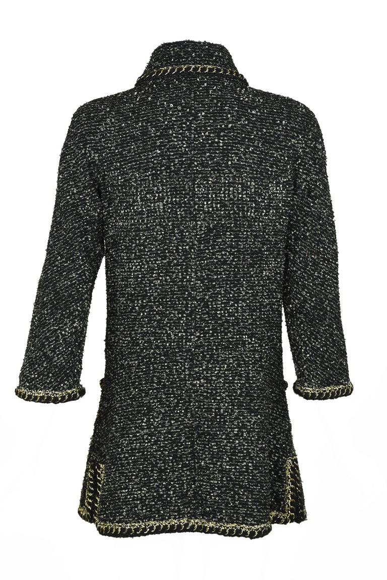 Chanel Black & Gold A-line Dress with Three Quarter Sleeves - Size FR 38 In Excellent Condition For Sale In Newport, RI