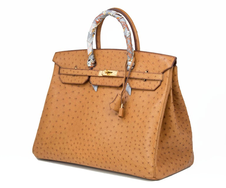 Incredibly rare ostrich birkin bag, Hermes has stopped making them in this coveted skin.  A large 40cm in a stunning light brown that goes with any outfit and has plenty of room for all your belongings.  A true classic and collectors item.  Size: