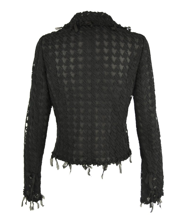 Chanel Black Embroidered Houndstooth Blazer - Size FR 36 In New Condition For Sale In Newport, RI
