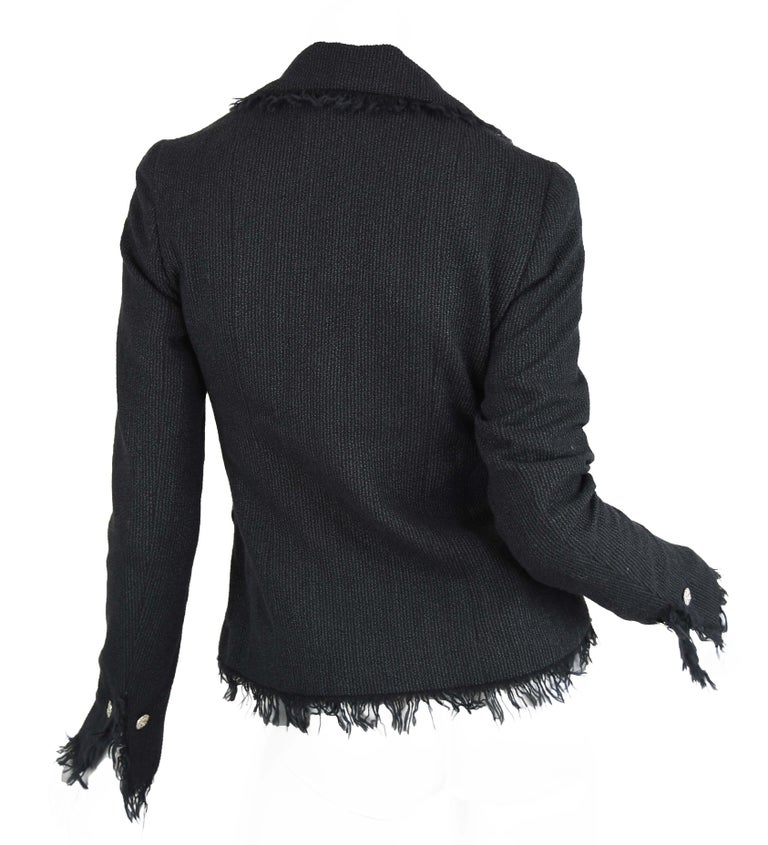 Chanel Black Wool Blazer with Silver Buttons - Size FR 34 In Excellent Condition For Sale In Newport, RI