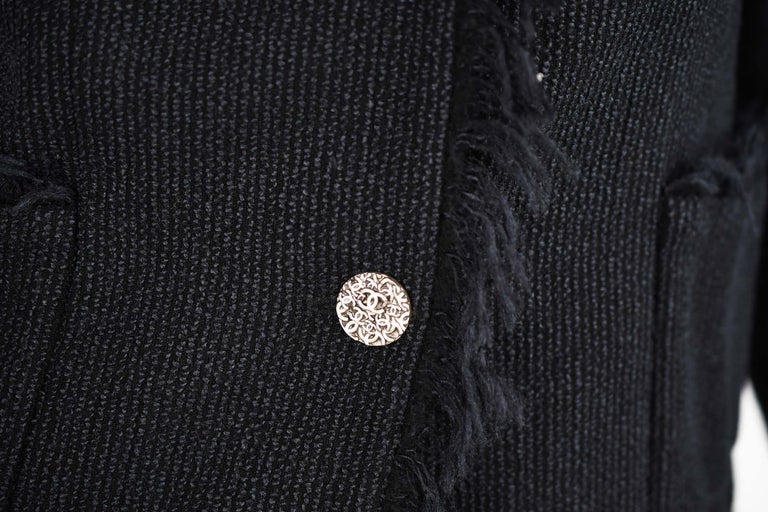 Chanel Black Wool Blazer with Silver Buttons - Size FR 34 For Sale 1