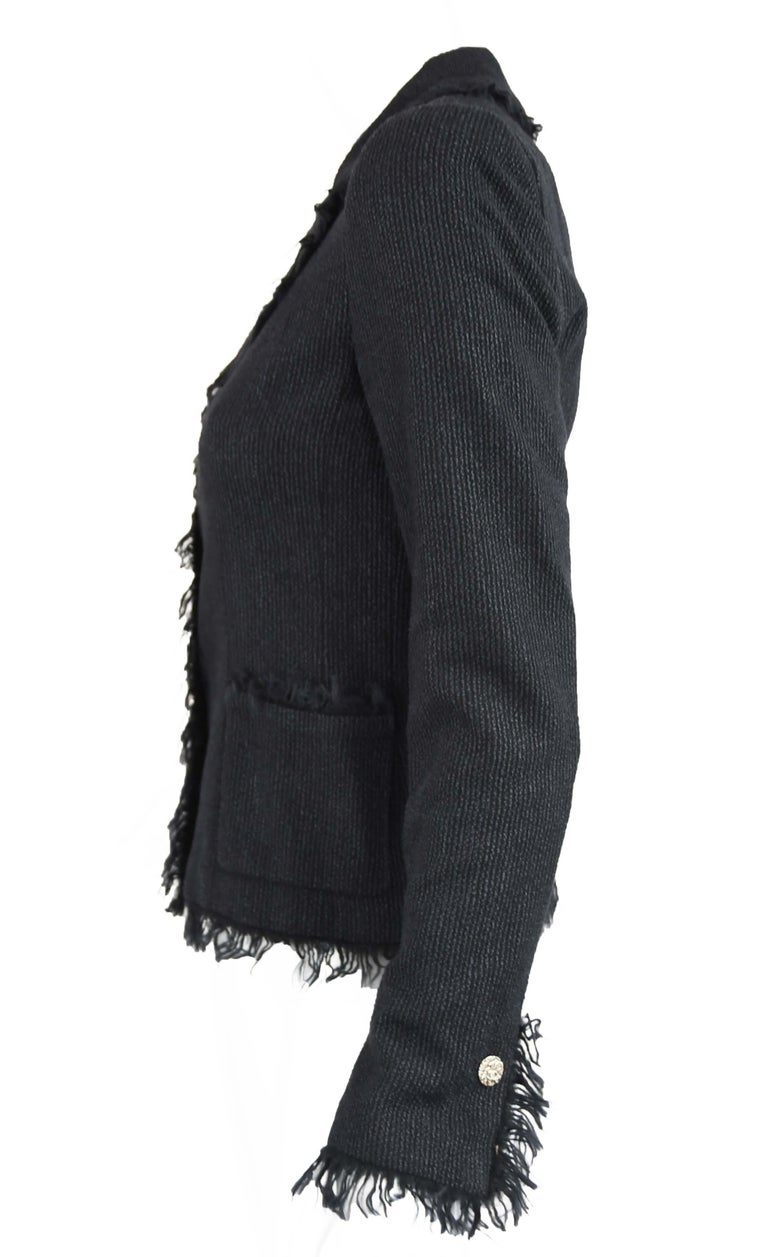 Women's Chanel Black Wool Blazer with Silver Buttons - Size FR 34 For Sale