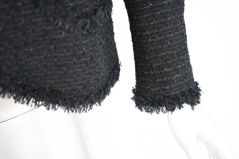 Chanel Classic Black Tweed Blazer with Peak Lapel - Size FR 36 For Sale 2