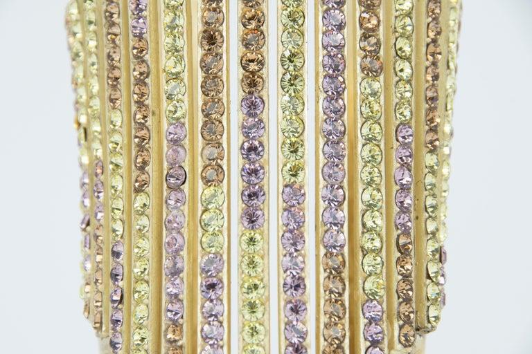 Chanel Gold Cuff with Multicolored Rhinestones In New Condition For Sale In Newport, RI