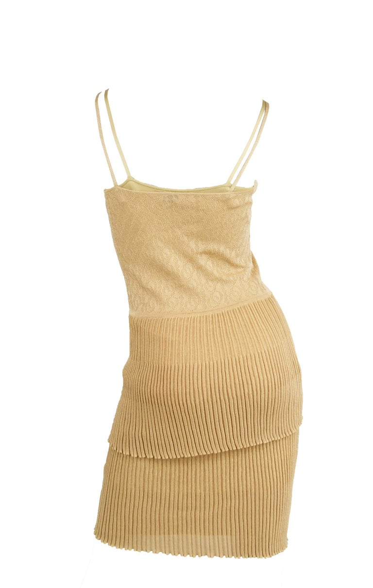 Chanel Gold Knit Two Tiered Dress - Size FR 36 In Excellent Condition For Sale In Newport, RI