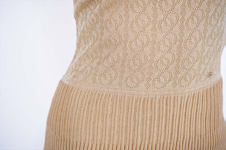 Women's Chanel Gold Knit Two Tiered Dress - Size FR 36 For Sale