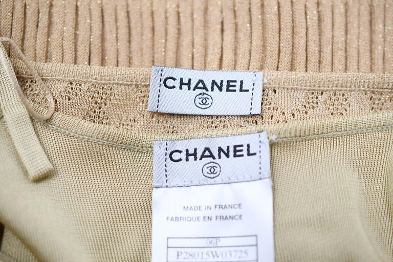 Chanel Gold Knit Two Tiered Dress - Size FR 36 For Sale 3