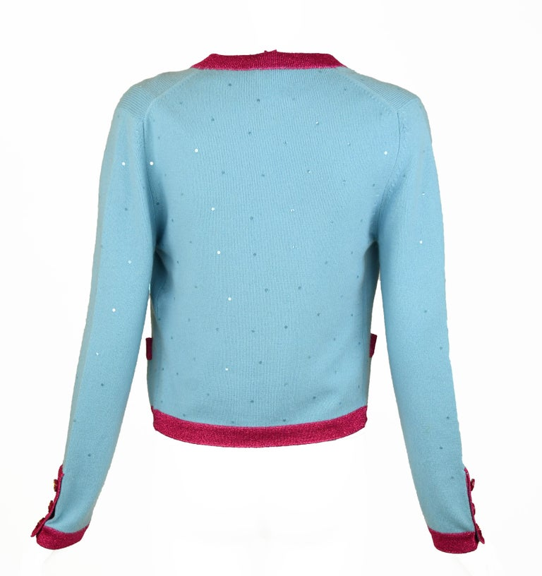 Chanel Light Blue Sweater with Sequins and Pink Metallic Trim - Size FR 38 In Excellent Condition For Sale In Newport, RI